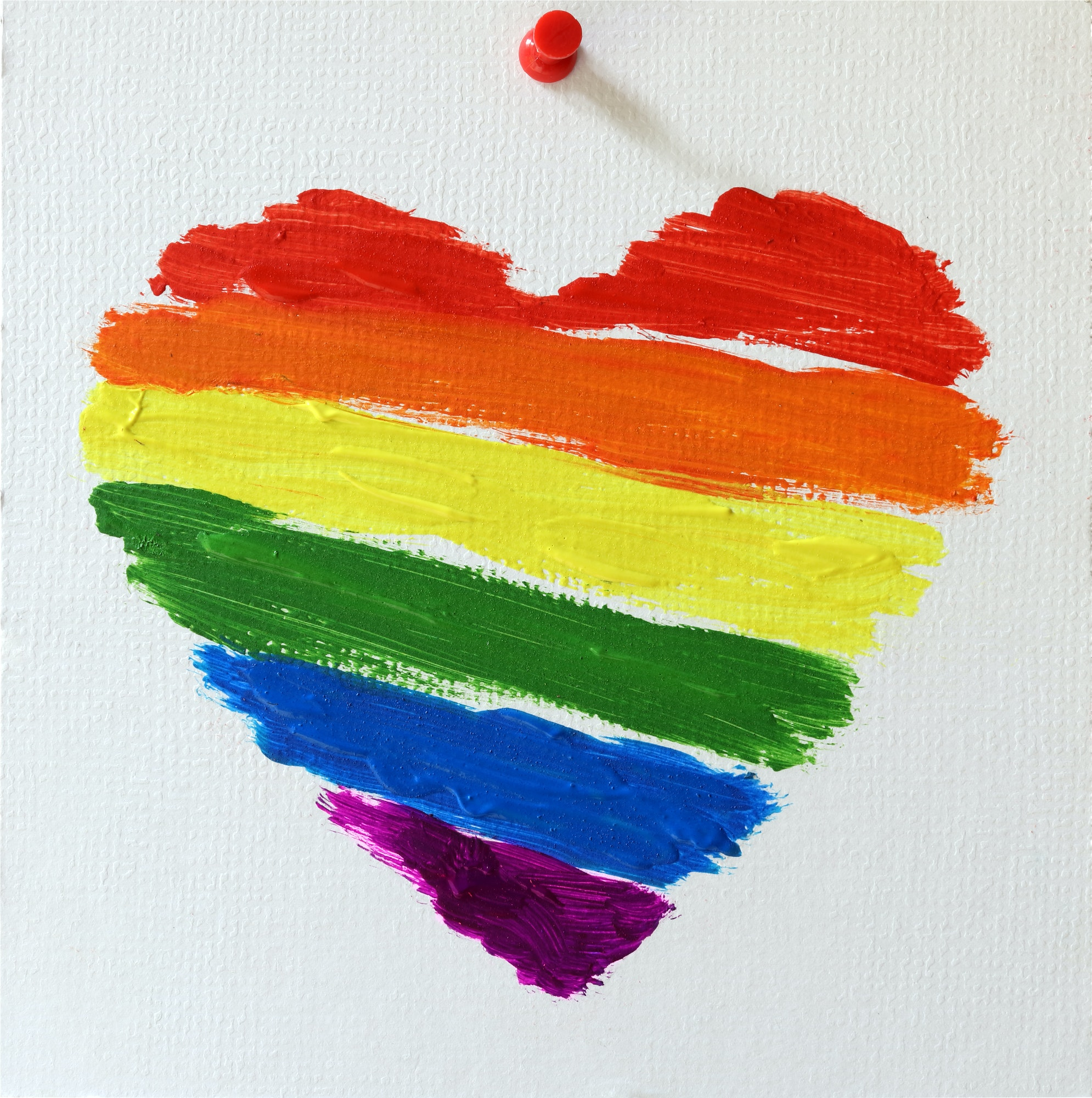 Gay lgbt flag painted rainbow heart