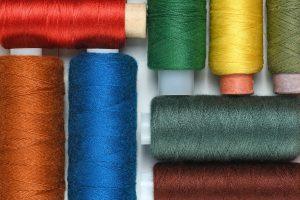 Spools of thread close-up