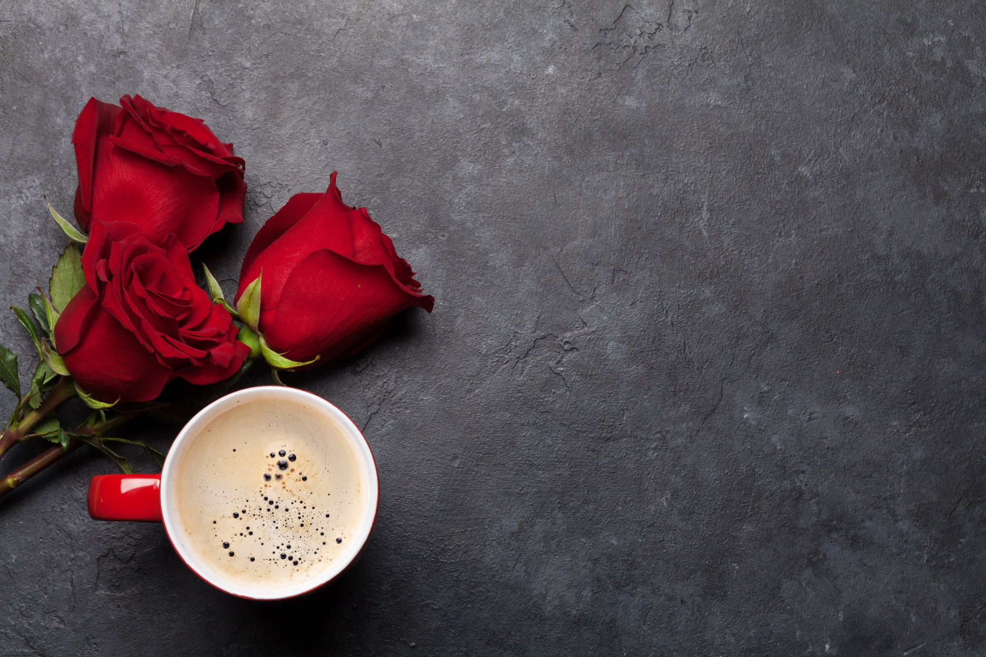 Valentines day card with coffee and roses